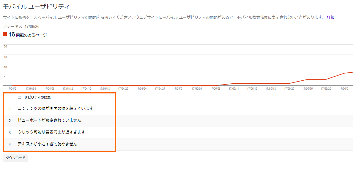 Search Console モバイル ユーザビリティ